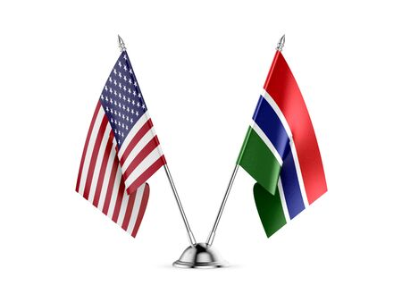 Desk flags, United States  America  and Gambia, isolated on white background. 3d image 写真素材