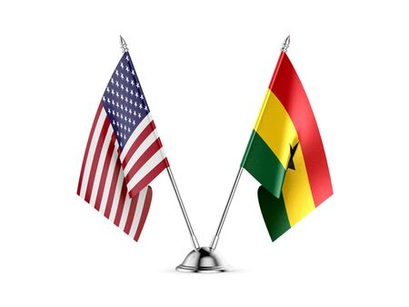 Desk flags, United States  America  and Ghana, isolated on white background. 3d image