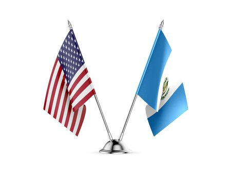 Desk flags, United States  America  and Guatemala, isolated on white background. 3d image