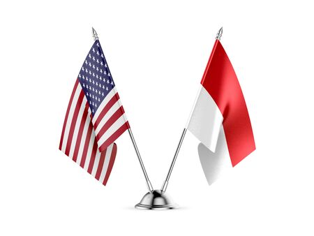 Desk flags, United States  America  and Indonesia, isolated on white background. 3d image