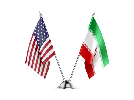 Desk flags, United States  America  and Iran, isolated on white background. 3d image 스톡 콘텐츠