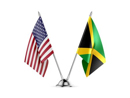 Desk flags, United States  America  and Jamaica, isolated on white background. 3d image
