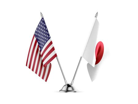 Desk flags, United States  America  and Japan, isolated on white background. 3d image Stockfoto