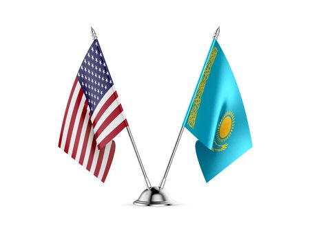Desk flags, United States  America  and Kazakhstan, isolated on white background. 3d image