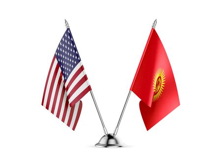 Desk flags, United States  America  and Kyrgyzstan, isolated on white background. 3d image