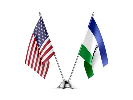 Desk flags, United States  America  and Lesotho, isolated on white background. 3d image