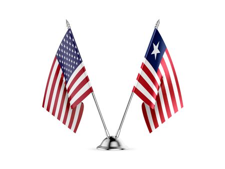 Desk flags, United States  America  and Liberia, isolated on white background. 3d image Zdjęcie Seryjne