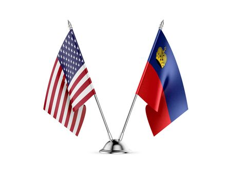 Desk flags, United States  America  and Liechtenstein, isolated on white background. 3d image