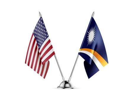 Desk flags, United States  America  and Marshall Islands, isolated on white background. 3d image
