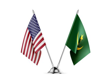 Desk flags, United States  America  and Mauritania, isolated on white background. 3d image