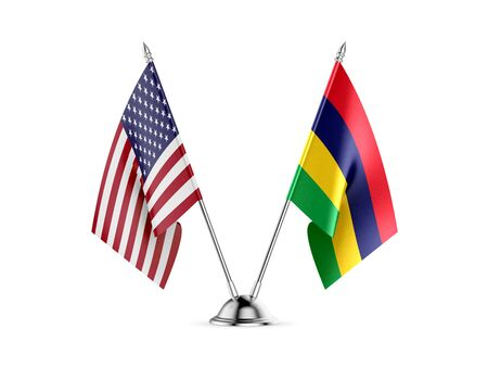 Desk flags, United States  America  and Mauritius, isolated on white background. 3d image