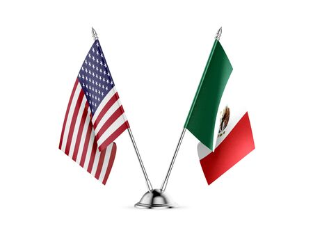Desk flags, United States  America  and Mexico, isolated on white background. 3d image Фото со стока - 133232203