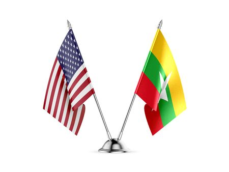 Desk flags, United States  America  and Myanmar - Burma, isolated on white background. 3d image 스톡 콘텐츠