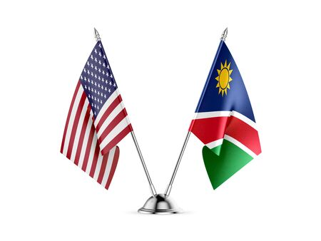 Desk flags, United States  America  and Namibia, isolated on white background. 3d image