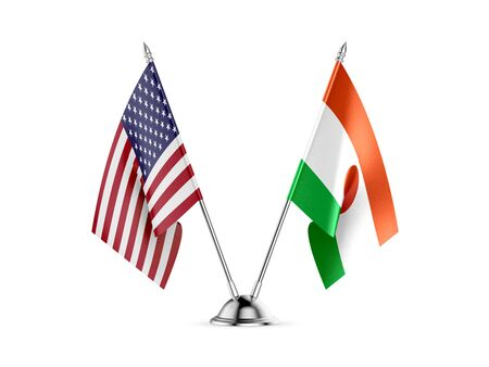 Desk flags, United States  America  and Niger, isolated on white background. 3d image