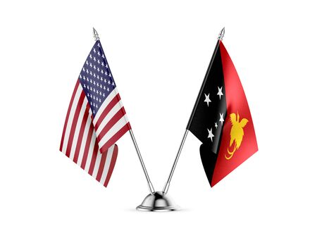 Desk flags, United States  America  and Papua New Guinea, isolated on white background. 3d image