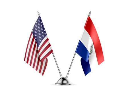 Desk flags, United States  America  and Paraguay, isolated on white background. 3d image 写真素材