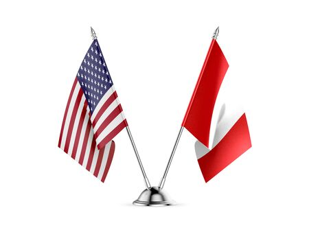 Desk flags, United States  America  and Peru, isolated on white background. 3d image