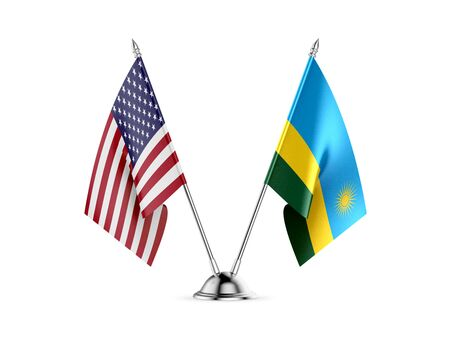 Desk flags, United States  America  and Rwanda, isolated on white background. 3d image