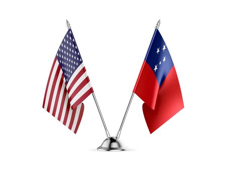 Desk flags, United States  America  and Samoa, isolated on white background. 3d image Stock Photo