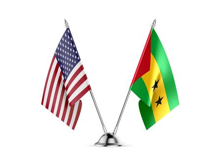 Desk flags, United States  America  and Sao Tome and Principe, isolated on white background. 3d image