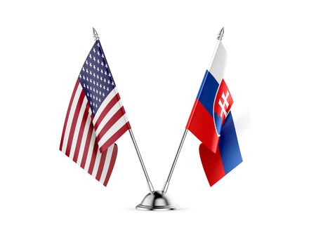 Desk flags, United States  America  and Slovakia, isolated on white background. 3d image