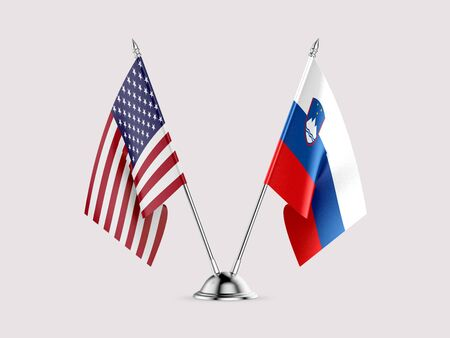 Desk flags, United States  America  and Slovenia, isolated on white background. 3d image