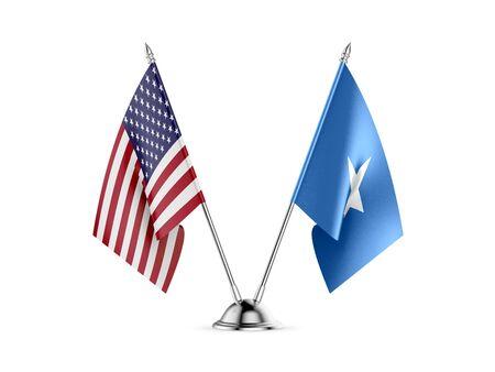Desk flags, United States America and Somalia, isolated on white background. 3d image Stockfoto