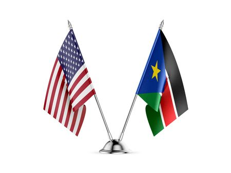 Desk flags, United States  America  and South Sudan, isolated on white background. 3d image 스톡 콘텐츠