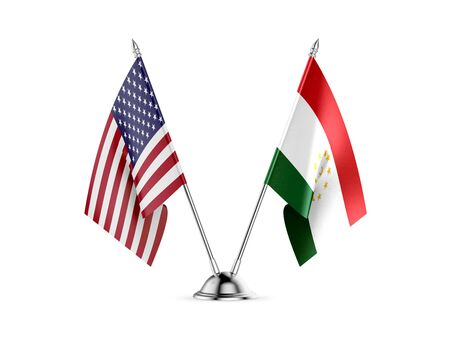 Desk flags, United States  America  and Tajikistan, isolated on white background. 3d image 写真素材