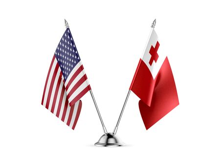 Desk flags, United States  America  and Tonga, isolated on white background. 3d image