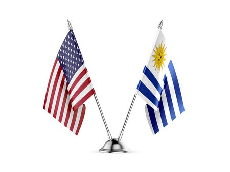 Desk flags, United States  America  and Uruguay, isolated on white background. 3d image