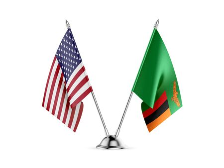 Desk flags, United States  America  and Zambia, isolated on white background. 3d image