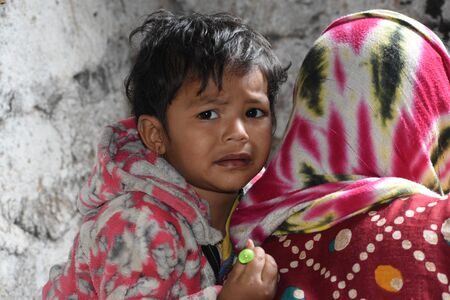Hyderabad, India - Jan 13, 2020 - Rohingya refugee children life, It was captured while they are playing in refugee camp at Balapur, Hafeez Baba Nager, Hyderabad, Telangana, India. Editorial