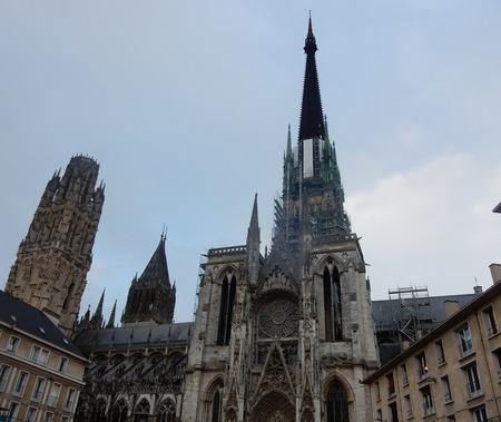 View on the side of Our Lady of Rouen cathedral.