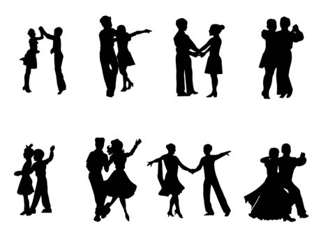 Silhouettes of dancing people Vettoriali