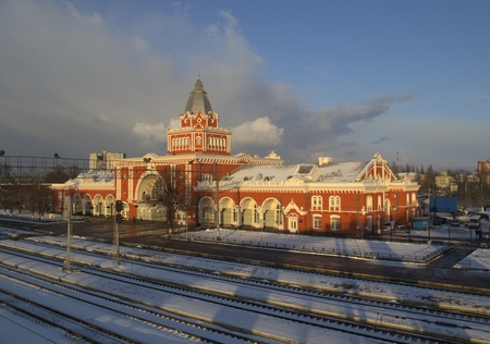 Ukraine. Chernigov, the railway station in the winter.