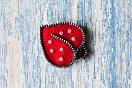 Brooch handmade in the form of ladybug