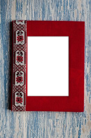 handmade photo frame with embroidery, background with space for copy
