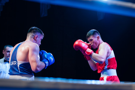 Ukraine, the city of Chernigov, April 9, 2018. Boxing tournament. Boxers in the ring during the competition