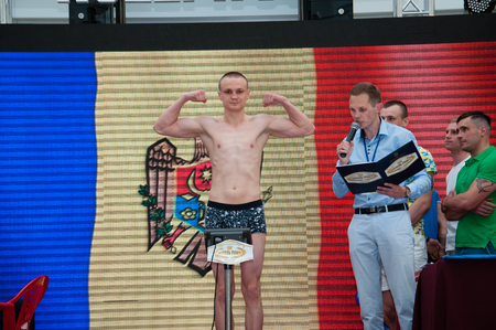 Ukraine, the city of Chernigov, April 8, 2018. Weigh-in boxers before the start of the international boxing tournament