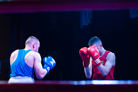 Ukraine, the city of Chernigov, April 9, 2018. Boxing tournament among professional boxers. Two professional boxers in the ring Editorial