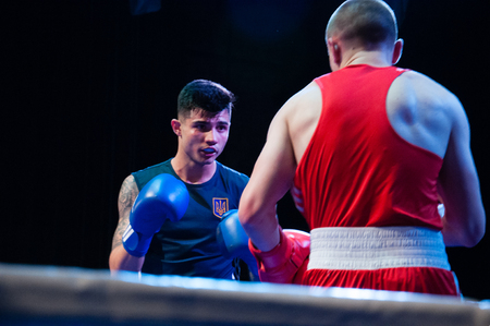 Ukraine, the city of Chernigov, April 9, 2018. Boxing tournament among professional boxers. Two boxers in the ring during the competition