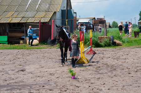 Ukraine, Chernihiv region, Kienka, July 14, 2018, Sergienko stable: competitions in equestrian sport, jumping horse, horse riding.