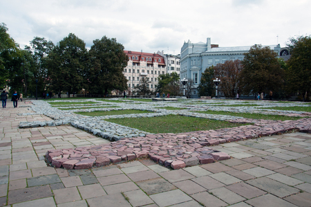 Ukraine, Kiev, October 10, 2018: The foundation of the Church of the Tithes near the National Museum of Ukrainian History.