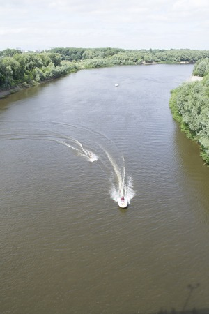 Ukraine, Chernigov, June 30, 2013: Extreme City Extreme Sports Festival. Young man water skiing top view