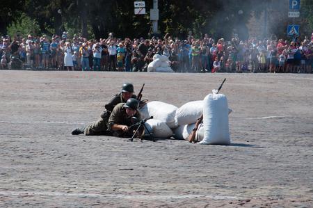 Ukraine, Chernigov, August 28, 2018: Historical reconstruction of the battle for Chernigov. 新聞圖片