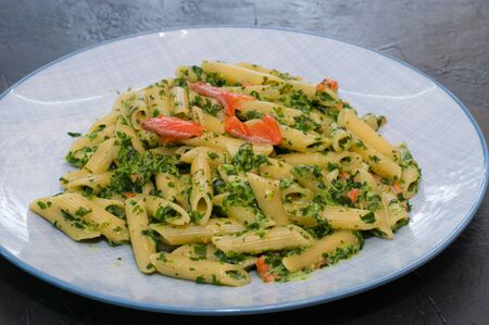 Delicious traditional Italian dish, pasta with salmon, spinach and cheese. Standard-Bild - 131676076