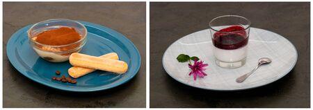 Collage delicious desserts panna cotta and tiramisu with savoyardi cookies