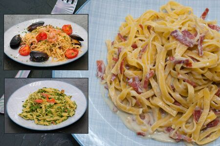 Pasta with spinach, red fish, tomato sauce meat or sausage, tomatoes, seafood mussels and cheese. Multi cuisine gourmet collage